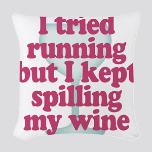 Wine vs Running Lazy Humor Woven Throw Pillow