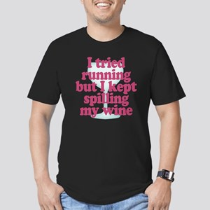 Wine vs Running Lazy H Men's Fitted T-Shirt (dark)