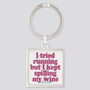 Wine vs Running Lazy Humor Square Keychain