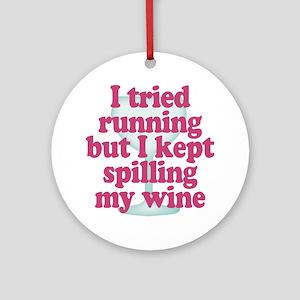 Wine vs Running Lazy Humor Round Ornament