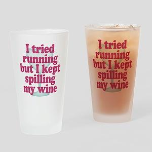 Wine vs Running Lazy Humor Drinking Glass