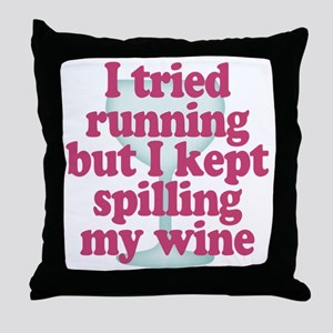 Wine vs Running Lazy Humor Throw Pillow