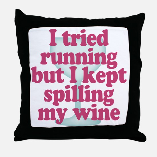 Wine vs Running Lazy Humor Throw Pillow