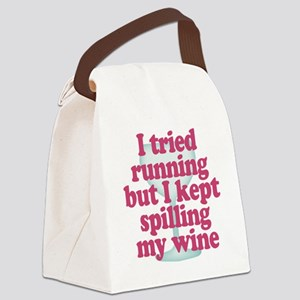 Wine vs Running Lazy Humor Canvas Lunch Bag