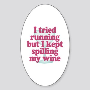Wine vs Running Lazy Humor Sticker (Oval)