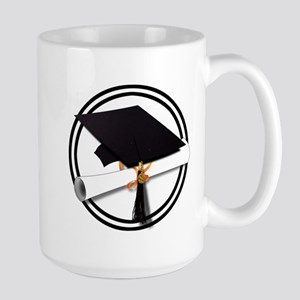 Graduation Cap with Diploma, Black and White Mugs