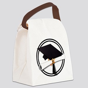 Graduation Cap with Diploma, Blac Canvas Lunch Bag