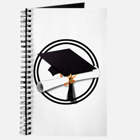 Graduation Cap with Diploma, Black and Whi Journal