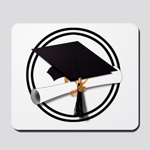 Graduation Cap with Diploma, Black and W Mousepad