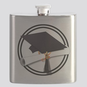 Graduation Cap with Diploma, Black and White Flask