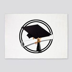 Graduation Cap with Diploma, Black 5'x7'Area Rug