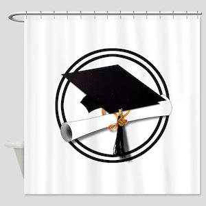 Graduation Cap with Diploma, Black Shower Curtain