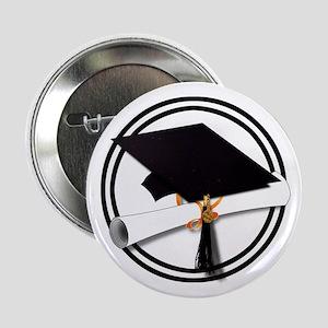 "Graduation Cap with Diploma, Black an 2.25"" Button"