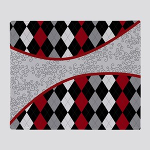 Argyle and Old Lace Red Gray and Bla Throw Blanket