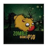 Zombie guinea pig Tile Coasters