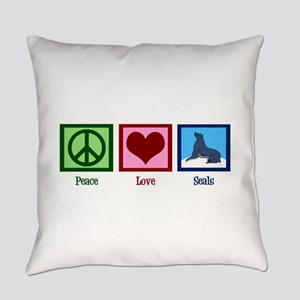Peace Love Seals Everyday Pillow