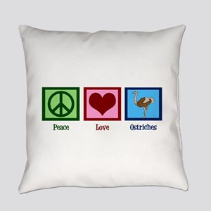Peace Love Ostriches Everyday Pillow