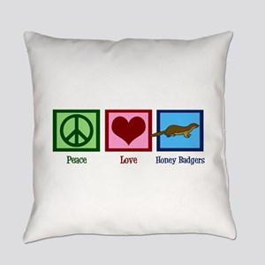 Peace Love Honey Badgers Everyday Pillow