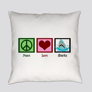 Peace Love Sharks Everyday Pillow