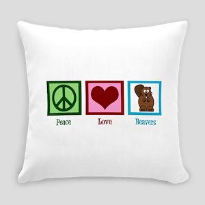 Peace Love Beavers Everyday Pillow