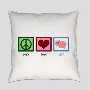 Peace Love Pigs Everyday Pillow