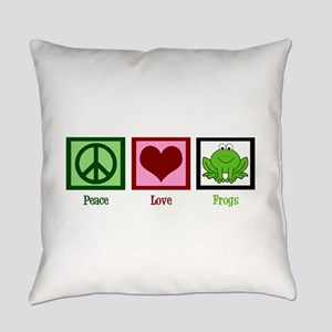 Peace Love Frogs Everyday Pillow