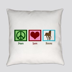 Peace Love Horses Everyday Pillow