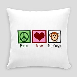 Peace Love Monkeys Everyday Pillow
