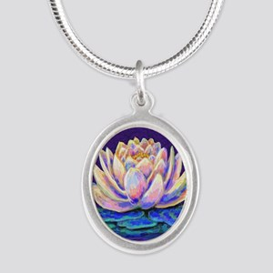 lotus blossum Silver Oval Necklace