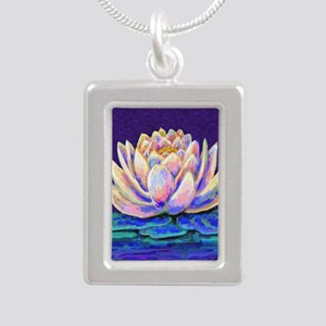 lotus blossum Silver Portrait Necklace