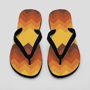 Yellow Fade Chevron Pattern Flip Flops
