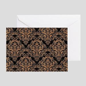 DAMASK1 BLACK MARBLE & LIGHT MAPLE W Greeting Card