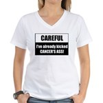 Kicked Cancer's Ass Women's V-Neck T-Shirt
