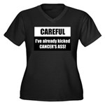 Kicked Cancer's Ass Women's Plus Size V-Neck Dark