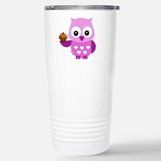Pink Pretty Owl Stainless Steel Travel Mug