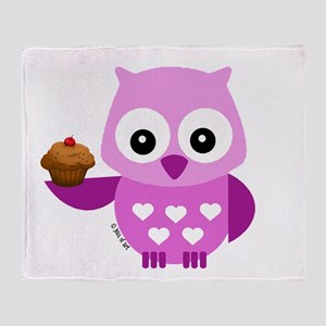 Pink Pretty Owl Throw Blanket