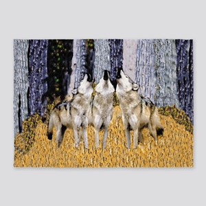 Howling Wolves Trio 5'x7'Area Rug