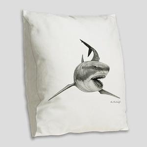 Great White Shark ~ Burlap Throw Pillow
