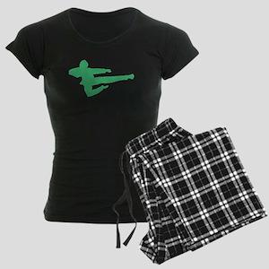 Green Jump Kick Silhouette Pajamas