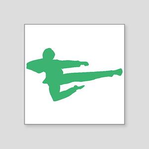 Green Jump Kick Silhouette Sticker
