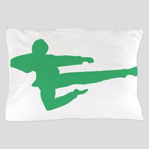 Green Jump Kick Silhouette Pillow Case