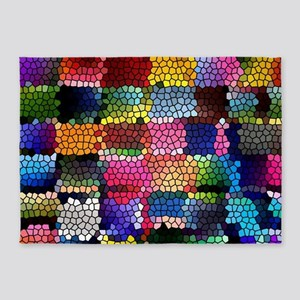 Multicolored check patterns stained 5'x7'Area Rug