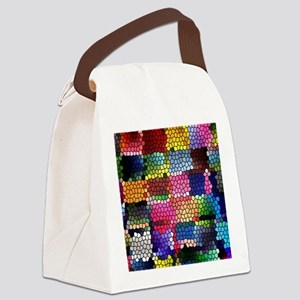 Multicolored check patterns stain Canvas Lunch Bag