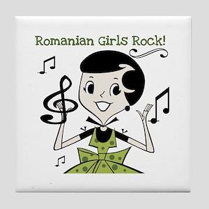 Romanian Girls Rock Tile Coaster