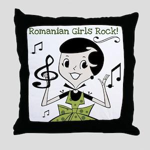 Romanian Girls Rock Throw Pillow