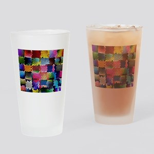 Multicolored check patterns stained Drinking Glass