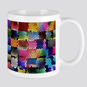 Multicolored check patterns stained glass Mugs