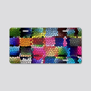 Multicolored check patterns Aluminum License Plate