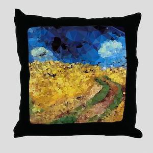 Van Gogh Wheatfield Crows Throw Pillow