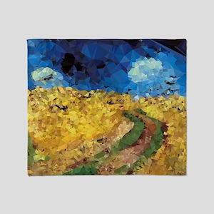 Van Gogh Wheatfield Crows Throw Blanket